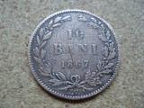 ROMANIA - 10 BANI 1867 WATT, CAROL I ,  L5.68