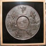 Medalion bronz masiv în bazorelief temă meta-ortodoxă (ucraina, 1975)