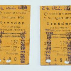 Lot 2 bilete vechi perioada anilor '70 - Germania - Stuttgart - Dresden