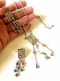 REDUCERE- Set NOX bijuterii dama-cercei lungi,lantisor-placat cu aur alb 18k