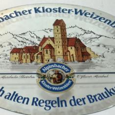 Reclama veche pe oglinda - bere Alpirschbacher Kloster Weizenbiere anii '70- '80