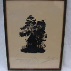 Pictura veche realizata prin decupaj semnata si datata 1923