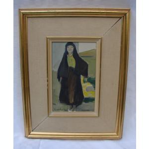 Pictura veche reprezentand o femeie evreica, datat 1928