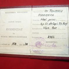 Certificat pt Insigna Evidentiat in Munca Medico-Sanitara 1978