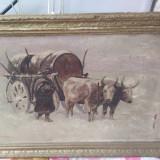 Tablou car cu boi iarna , replica Aman, Animale, Ulei, Altul