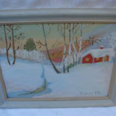 Pictura veche - peisaj de iarna, semnata T. Linde, datata 1943, Peisaje, Tempera, Realism