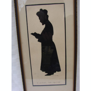 Pictura veche realizata prin decupaj semnata si datata 1932