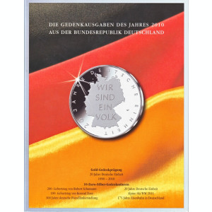 Germania 6x10 euro Argint + 2 euro 2010 - monede comemorative in folder oficial