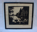 Pictura veche realizata prin decupaj semnata si datata 1945, Peisaje, Carbune, Realism