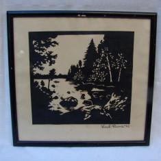 Pictura veche realizata prin decupaj semnata si datata 1945