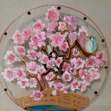 Ceas sticla pictata motive florale Shakura-livrare gratuita