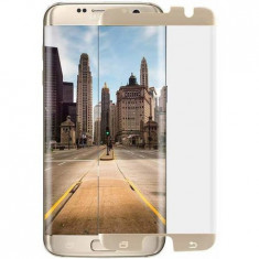 Folie de sticla, case friendly, pentru Samsung Galaxy S7 Edge, GloMax 3D Auriu