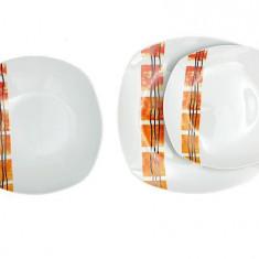Set serviciu masa portelan 18buc Homefavour patrat portocaliu Handy KitchenServ