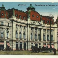 cp Bucuresti : Fundatiunea Universitara Carol I - circulata 1926, timbre