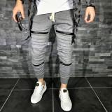 Pantaloni pentru barbati de trening gri inchis conici banda jos cu siret alb fermoare decorative bumbac Z0008