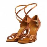 Pantofi dans, Supadance, saten bronz inchis , toc 6.35 cm, 37, 37.5, 38