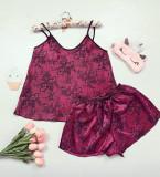 Cumpara ieftin Pijama dama ieftina primavara-vara visiniu din satin lucios cu imprimeu Lace