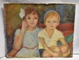Pictura pe carton Frati - fata si baiat - semnat stanga jos Rodica ( ? )