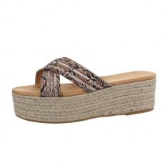 Papuci sic, cu imprimeu sarpe si platforma, 37, 38, 40, 41, Camel