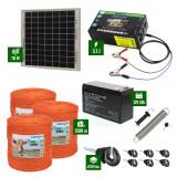 Pachet gard electric cu Panou solar 3,1J putere și 1500m Fir 90Kg cu acumulator