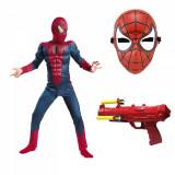 Set costum Spiderman cu muschi Infinity War pentru copii,masca si pistol cu sageti din burete, M, 5 - 7 ani