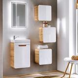 Set mobilier pentru baie din MDF, Aruba Alb / Stejar 40 cm, 6 piese