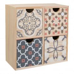 Mini organizator tip dulap, 22 x 22 x 10 cm, 4 sertare