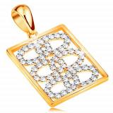 Cumpara ieftin Pandantiv lucios realizat din aur de 14K-cercuri din zirconii interconectate intr-un dreptunghi
