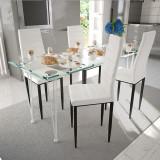 Set 4 scaune de culoare albă și masă de sticlă