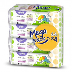 Happy Servetele umede Silk & Cotton mega pack- 64 x 4