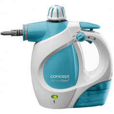 Aparat de curatat cu aburi Concept, CP1010, 1200W, 400 ml, presiune 3 bari, 9 accesorii, Alb/Bleu