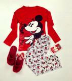 Pijama dama ieftina bumbac lunga cu bluza rosie cu maneca lunga si pantaloni lungi gri cu imprimeu MK Vintage
