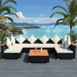 Set mobilier de grădină 21 piese, poliratan, blat WPC, negru