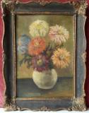 Vaza cu crizanteme, flori natura statica , tablou, pictura veche in ulei