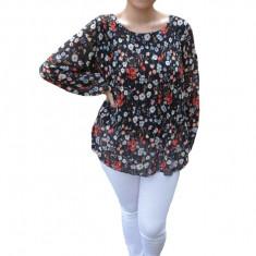 Bluza vaporoasa plisata Ella, imprimeu deep camp flower, nuanta de negru