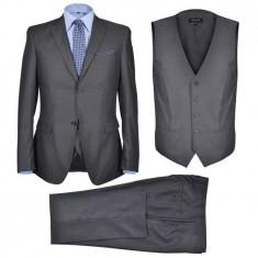 Costum business pentru bărbați, 3 piese, gri antracit, mărime 52