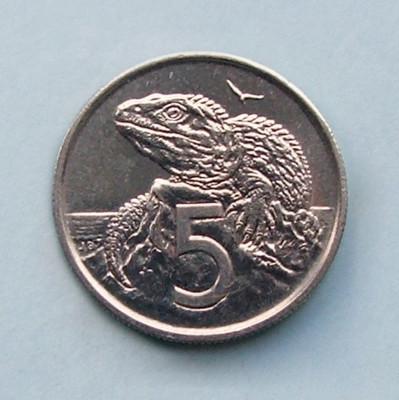 NOUA  ZEELANDA  -  5 Cents 1977  -  aUNC foto