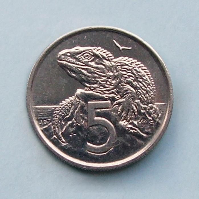 NOUA  ZEELANDA  -  5 Cents 1977  -  aUNC
