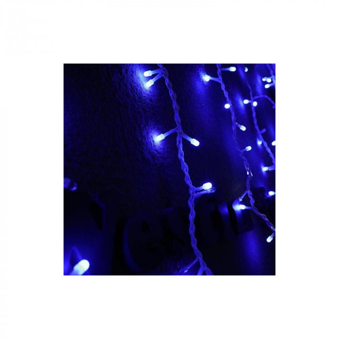 Instalatie de Craciun 2 m x 2 m, Perdea Ploaie, Albastru, 300 leduri, exterior, SDX, 6013B