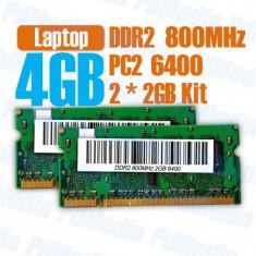 Kit Memorie Laptop DDR2 2 X 2 GB (4GB) 800 MHZ PC 6400 Garantie 6 Luni