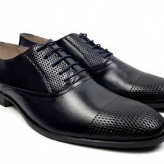 Oferta marimea 43 Pantofi barbati eleganti din piele naturala bleumarin inchis L724BL
