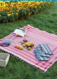 Patura PICNIC chic cu franjuri (canapea/masa/fotoliu/pat) - folosinta MULTIPLA