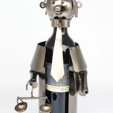 Suport pentru Sticla Vin model Avocat Metal Lucios Capacitate 1 Sticla H 33 cm
