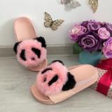 Cumpara ieftin Papuci roz cu blanita panda / slapi roz / sandale pt fetite 32