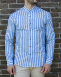 Camasa bleu alb- camasa slim fit camasa barbat LICHIDARE STOC cod 192, L, XL, XXL, Maneca lunga