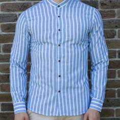 Camasa tunica dungi bleu - camasa tunica camasa barbat camasa slim #192, L, S, XL, XXL, Maneca lunga, Din imagine