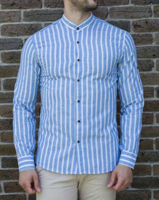 Camasa bleu alb- camasa slim fit camasa barbat LICHIDARE STOC cod 192 foto