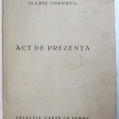 ACT DE PREZENTA de ILARIE VORONCA , CARTE DE AVANGARDA , 1932 , EDITIE PRINCEPS *