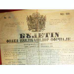 Ziar- Buletin- Foaia Publicatiilor Oficiale a Principatului Moldovei 5 febr.1856
