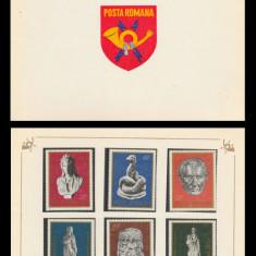 1974 Romania, Arheologie din Romania LP 862, carnet filatelic de prezentare